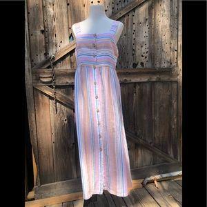 NWT C&C California Striped Linen Maxi Dress Size 8